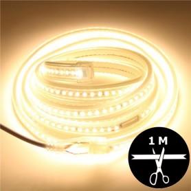 Ruban LED 230V 2835 sécable 1 mètre - Blanc chaud 3000K