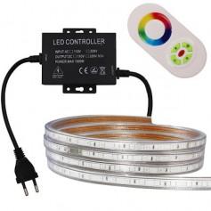 KIT Ruban LED 230V 5050 60led/m RGB 10 mètres étanche