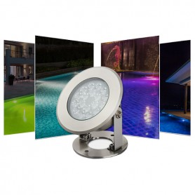 Projecteur submersible IP68 LED 9W RGB + blanc variable RF